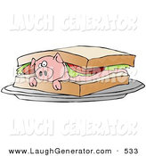Humorous Clip Art of a Confused Pink Pig Lying on Its Belly in a Lunch Sandwich by Djart