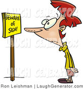 Humorous Clip Art of a Confused Red Headed Woman Reading a Sign That Says Beware of Sign by Toonaday