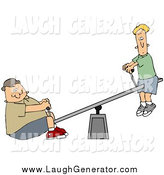 Humorous Clip Art of a Confused White Thin Boy up on a Teeter Totter, a Chubby Boy on the Other End by Djart