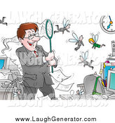 Humorous Clip Art of a Controlling Boss Catching His Fly Employees in a Net by Alex Bannykh