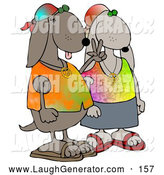 August 25th, 2013: Humorous Clip Art of a Cool Hippie Dog Canine Couple Wearing Tie Dye Shirts and Sandals, One Dog Flashing the Peace Sign by Djart