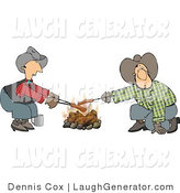 Humorous Clip Art of a Couple of Gay Cowboys Cooking Hot Dogs over a Campfire - Weeny Roast by Djart