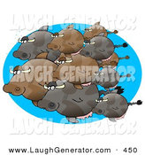 March 15th, 2013: Humorous Clip Art of a Cow Fish Schooling in the Ocean on Blue by Djart