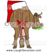 Humorous Clip Art of a Cow with a Red Bow on Its Tail and a Santa Hat on Its Butt by Djart