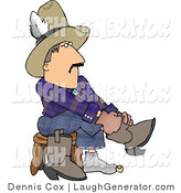 Humorous Clip Art of a Cowboy Sitting on a Stool and Putting His Boots on His Feet by Djart