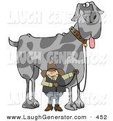 Humorous Clip Art of a Cowboy Walking a Giant Great Dane Dog on a Leash over White by Djart