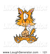 Humorous Clip Art of a Crazy Orange Cat in a Straight Jacket on White by Spanky Art