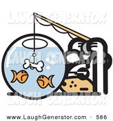 Humorous Clip Art of a Curious and Silly Dog Trying to Catch Goldfish in a Bowl with a Dog Bone on a Hook by Andy Nortnik