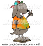 Humorous Clip Art of a Cute and Cool Brown Hippie Dog in a Tye Die Shirt and Sandals and Flashing the Peace Sign Gesture by Djart