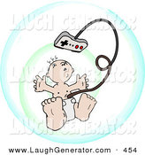 Humorous Clip Art of a Cute Baby Attached to an Entertainment System Video Game Controller by Leo Blanchette