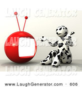 Humorous Clip Art of a Cute Black and White Cow Patterned Person Shrugging and Sitting in Front of a Red Television by 3poD