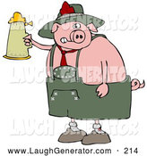 Humorous Clip Art of a Cute Drunk Pink Pig Drinking a Beer from a Setin at Oktoberfest by Djart
