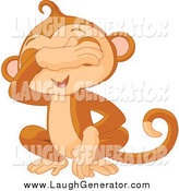 Humorous Clip Art of a Cute See No Evil Monkey Covering His Eyes by Pushkin