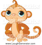 Humorous Clip Art of a Cute Speak No Evil Monkey Covering His Mouth by Pushkin
