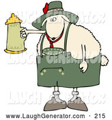 Humorous Clip Art of a Cute White Sheep Getting Drunk with a Beer Stein at Oktoberfes by Djart