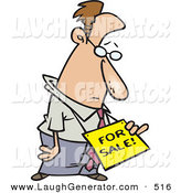Humorous Clip Art of a Depressed Caucasian Business Man Wearing a for Sale Sign Around His Neck by Toonaday