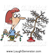 Humorous Clip Art of a Depressed Woman Holding Colorful Christmas Lights and Looking at Her Dead Christmas Tree in the Stand by Toonaday