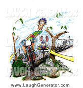 July 26th, 2014: Humorous Clip Art of a Dirty, Nervous Caucasian Male Mountain Biker Riding Downhill Between Trees, near a Rattlesnake, His Opponents Clumsily Following Behind by Spanky Art