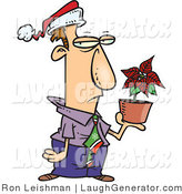 Humorous Clip Art of a Disgruntled Male Employee in a Santa Hat, Holding a Poinsettia Plant As a Christmas Bonus by Toonaday