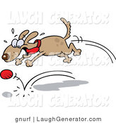 Humorous Clip Art of a Dog Chasing Ball by Gnurf