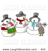 Humorous Clip Art of a Dog Urinating on a Snowman Trio by Djart