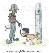 Humorous Clip Art of a Dog Waiting As His Human Pees on a Pole by PlatyPlus Art