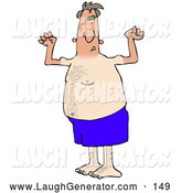 Humorous Clip Art of a Dorky and Chubby Middle Aged White Man in Blue Swimming Shorts, Flexing His Muscles and Showing off the Tan Lines from His Farmers Tan, on White by Djart