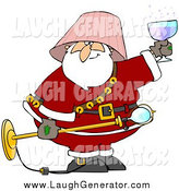 Humorous Clip Art of a Drunk Santa with a Lamp Shade on His Head, Holding a Light Fixture and Wine by Djart