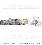 Humorous Clip Art of a Dumb Man Going down the Bowling Alley by Djart
