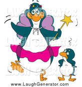 July 22nd, 2014: Humorous Clip Art of a Embarrassed Penguin Kid Standing Beside a Fairy Godmother by Dennis Holmes Designs