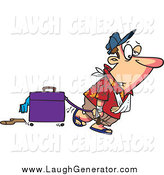 Humorous Clip Art of a Exhausted White Man After Vacation by Ron Leishman