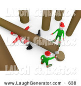 October 19th, 2013: Humorous Clip Art of a Fallen Tree on Top of Poor Santa After an Elf Tries to Cut Firewood by 3poD