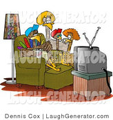 Humorous Clip Art of a Family of Turkeys Watching TV by Djart