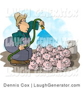 Humorous Clip Art of a Farmer Watering His Pigs with a Green Garden Hose by Djart