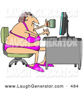 Humorous Clip Art of a Fat White Woman in Her Bra and Underwear, Hair in Curlers, Smoking a Cigarette, Holding a Coffee Mug and Typing on a Computer at a Desk by Djart