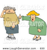 Humorous Clip Art of a Fat Wife Turning Her Husband's Switch on by Djart