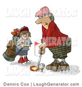 Humorous Clip Art of a Father and Son Golfing Together on Father's Day - Caddie Humor by Djart