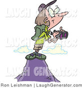 Humorous Clip Art of a Female Hiker on Top of a Mountain, Holding Binoculars to Look at a View by Toonaday
