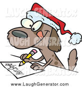 Humorous Clip Art of a Festive Dog Writing a Dear Santa Letter with His Christmas Wishes by Toonaday