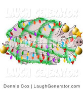 Humorous Clip Art of a Festive Funny Pig Decorated with Christmas Lights and Ornaments - Xmas Ham Concept by Djart
