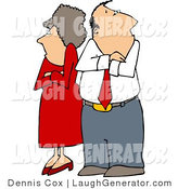 Humorous Clip Art of a Fighting Couple (Husband and Wife) Standing with Arms Crossed, Facing Away from Each Other by Djart