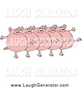 Humorous Clip Art of a Five Fat Pigs Kicking Their Legs up While Dancing in a Chorus Line by Djart