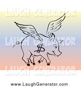 May 4th, 2014: Humorous Clip Art of a Flying Dollar Pig over Gradient by Pauloribau