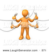 Humorous Clip Art of a Four Armed Orange Person Handling Five Different Telephone Conversations While Multi Tasking at Work by 3poD