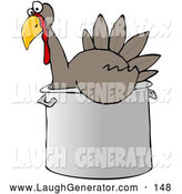 Humorous Clip Art of a Friendly Confused Live Turkey Bird in a Big Pot, Being Prepared for Thanksgiving Dinner by Djart