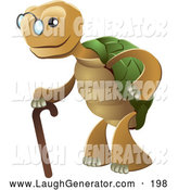 Humorous Clip Art of a Friendly Cute Senior Tortoise Turtle Wearing Glasses and Strolling with a Cane by AtStockIllustration