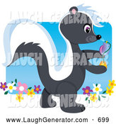 November 1st, 2013: Humorous Clip Art of a Friendly Cute Smelly Skunk Walking in a Flower Garden and Spraying Fragrance by Maria Bell