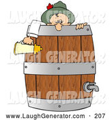 Humorous Clip Art of a Friendly Drunk Oktoberfest Man in Costume, Leaning over a Wooden Beer Keg Barrel and Holding a Stein by Djart