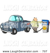 Humorous Clip Art of a Frustrated Caucasian Business Man Flipping off the Smiley Face on an Expensive Fuel Pump While Filling up the Gasoline Tank of His Blue Pickup Truck at a Gas Station by Djart