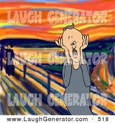May 26th, 2013: Humorous Clip Art of a Frustrated Caucasian Man, a Father, Husband or Manager, Holding His Hands to His Cheeks While Screaming, a Humorous Parody of the Painting by Djart
